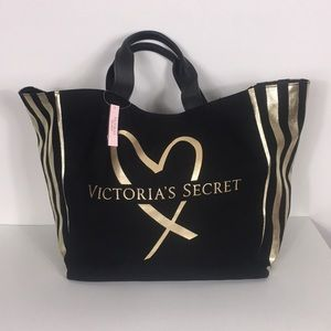 NWT Victoria's Secret Black and Gold Tote Bag